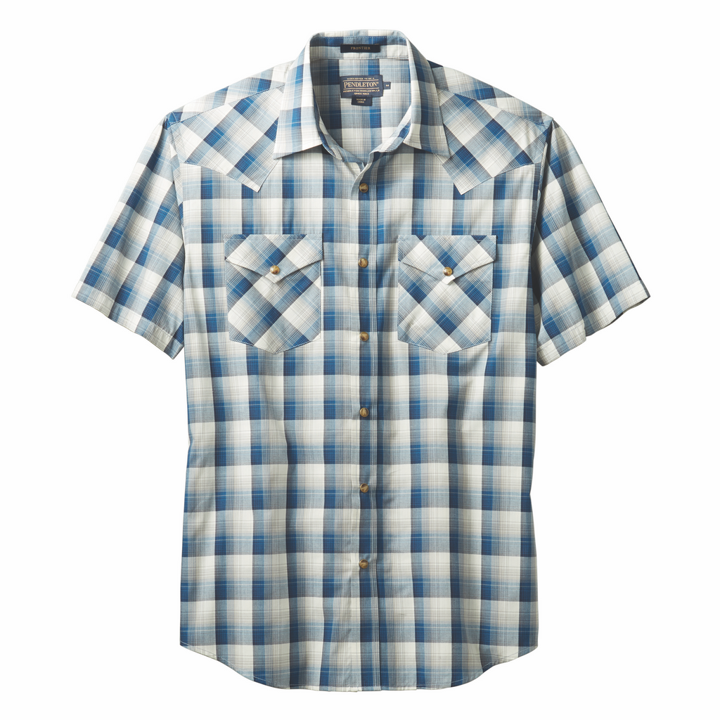 A men's Western-style snap-front shirt with peaked, bias-cut yokes plus bias-cut flapped pockets. Woven in a lightweight cotton blend for breathability and ease of care. Made by Pendleton. DA420-79013