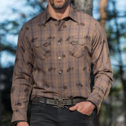 Ryan Michael Bucking Horse Shirt Brown Mens Western Cowboy Bozeman Montana Cotton Plaid Antique Copper Saw Tooth Pockets Apparel Head West