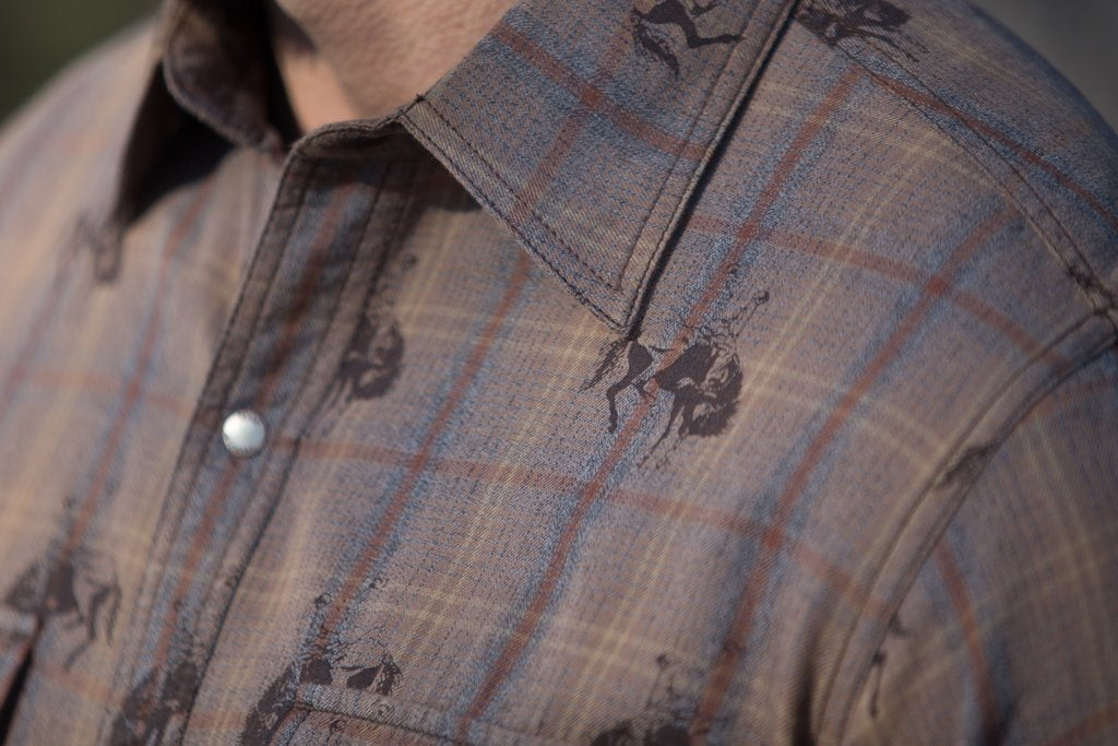 Ryan Michael Bucking Horse Ombre Plaid Shirt - headwestbozeman