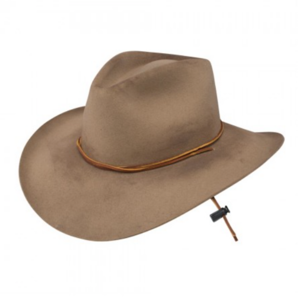 The Stetson Kelly western cowboy hat with a leather adjustable chin strap, distressed wool, leather hat band, and pinch front crown.