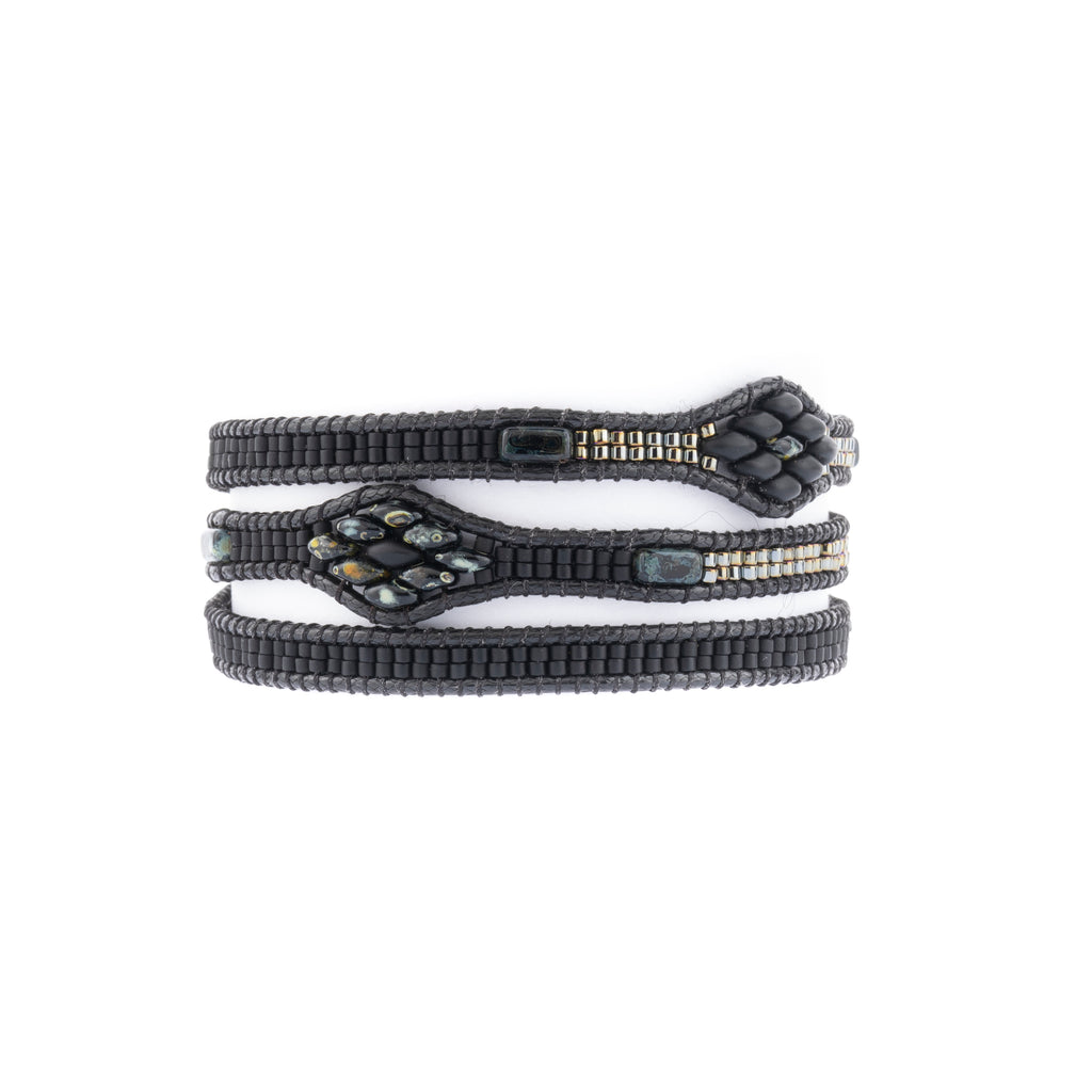 This Lilybead bracelet is the Gracie Wrap and features black beads.