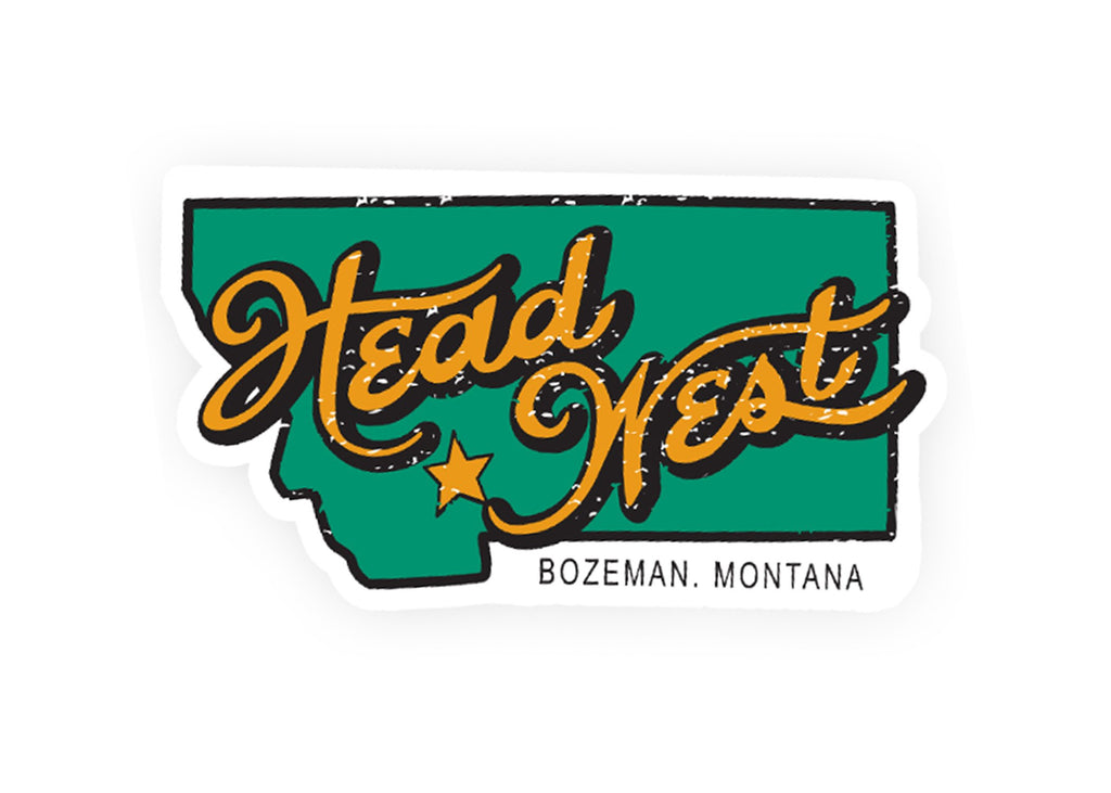 A Bozeman, Montana, Head West bumper sticker. Green and yellow western bumper sticker.