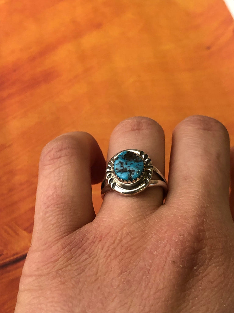 Sleeping Beauty Turquoise Sterling Ring - headwestbozeman