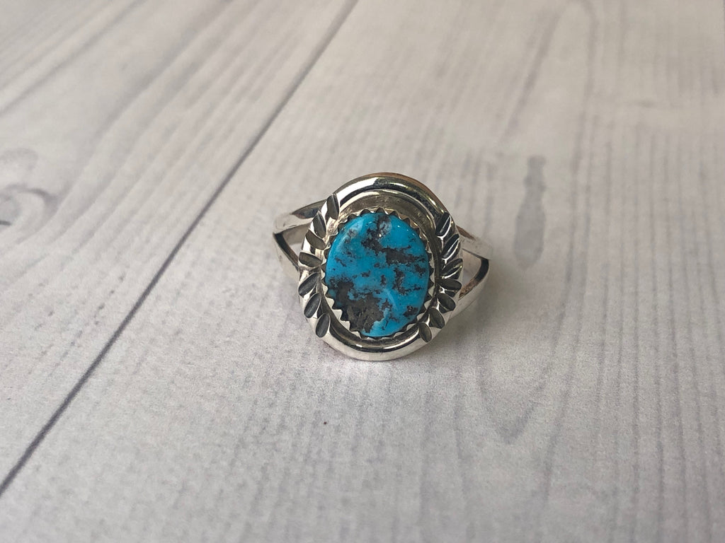 Small Sleeping Beauty Turquoise Ring - headwestbozeman