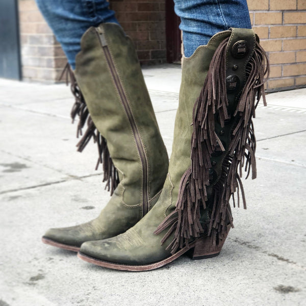 Liberty Black Ophelia Tall Boot Cowgirl Cowboy Rodeo Fringe Head West Western Boutique