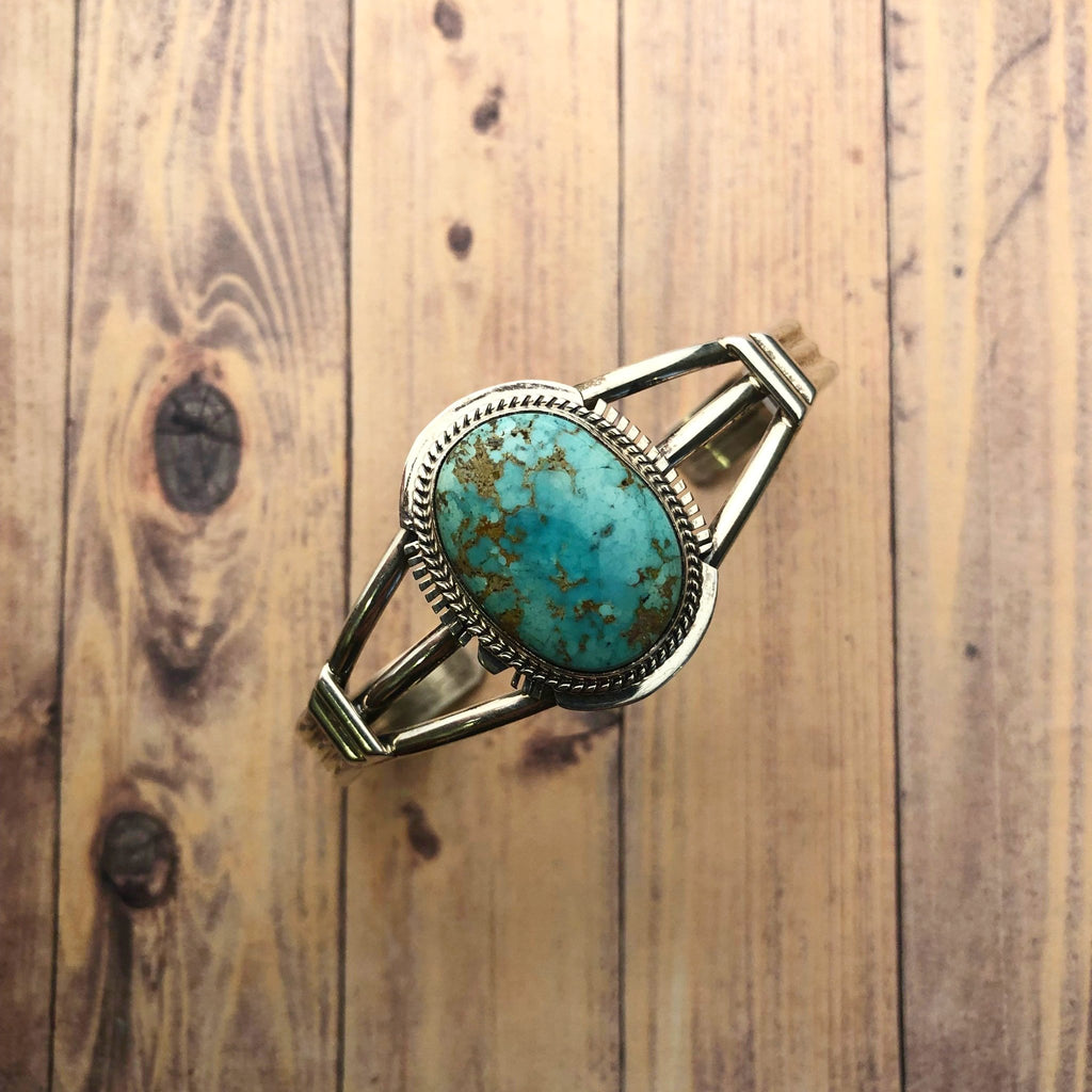 Turquoise Sterling Cuff - headwestbozeman