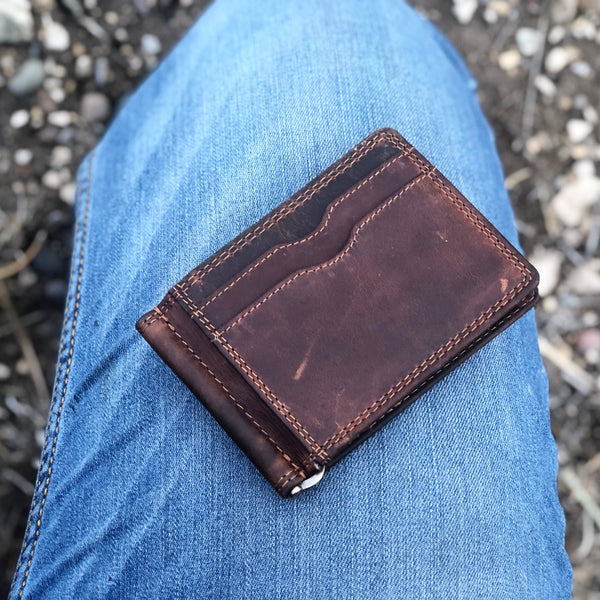 Rugged Earth Leather Money Clip Wallet Leather Goods Card Holder Genuine Leather  Vegetable Tanned Natural Oils Hand-Selected Accessory for Men and Women Head West Bozeman Montana