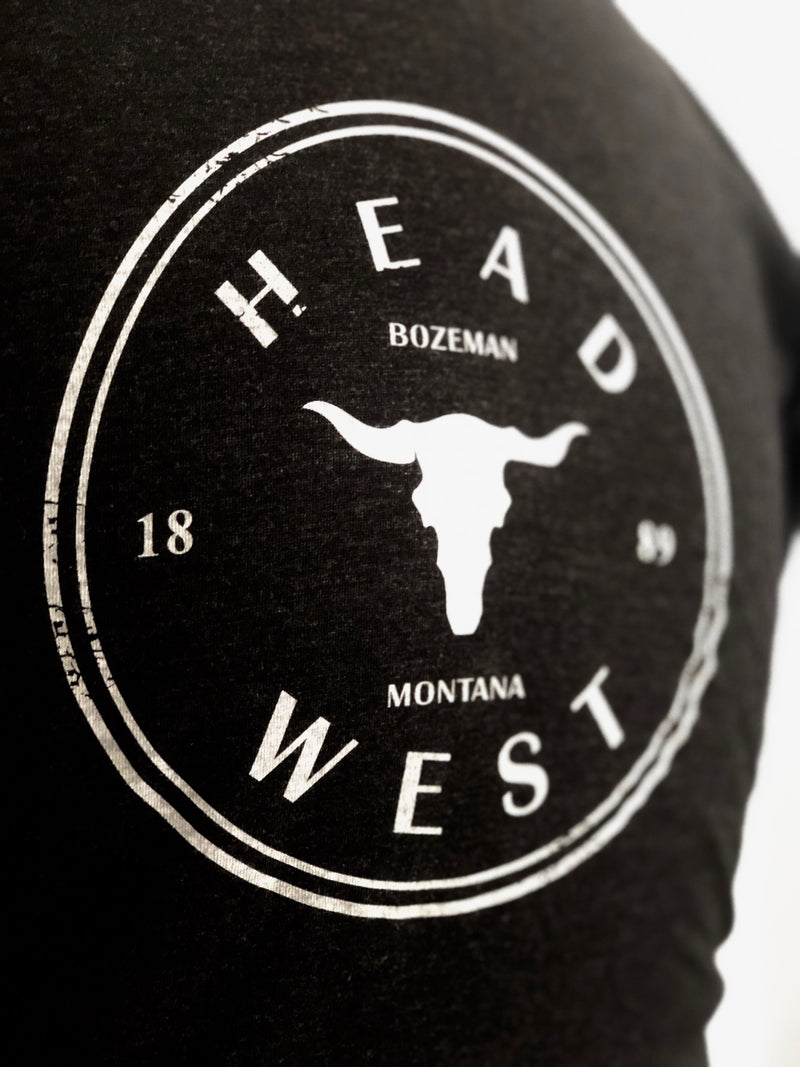 Head West Cow Skull Tee Black