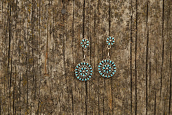 Circular Zuni Dangle Petite Point Earrings Antique Handcrafted Stamped by Artist Heirloom Turquoise Earrings Stud Earrings Vintage Accessories, Head West Bozeman Montana