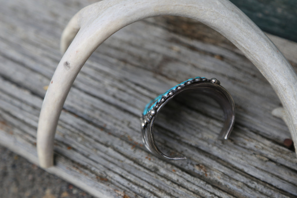 Large Turquoise Petite Point Cuff - headwestbozeman
