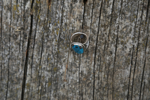 Large Turquoise Ring Men's Ring Handmade Stamped by Artist Western Jewelry Sterling Band Ring Rings Western Style Western Accessory Men's Ring Cowboy