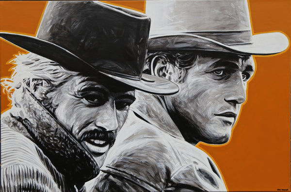 Will Hunter Butch Cassidy and the Sundance Kid Art Gallery Local Artist Original Acrylic Head West Bozeman