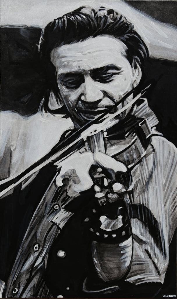 Waylon Jennings on the Fiddle by Will Hunter - headwestbozeman