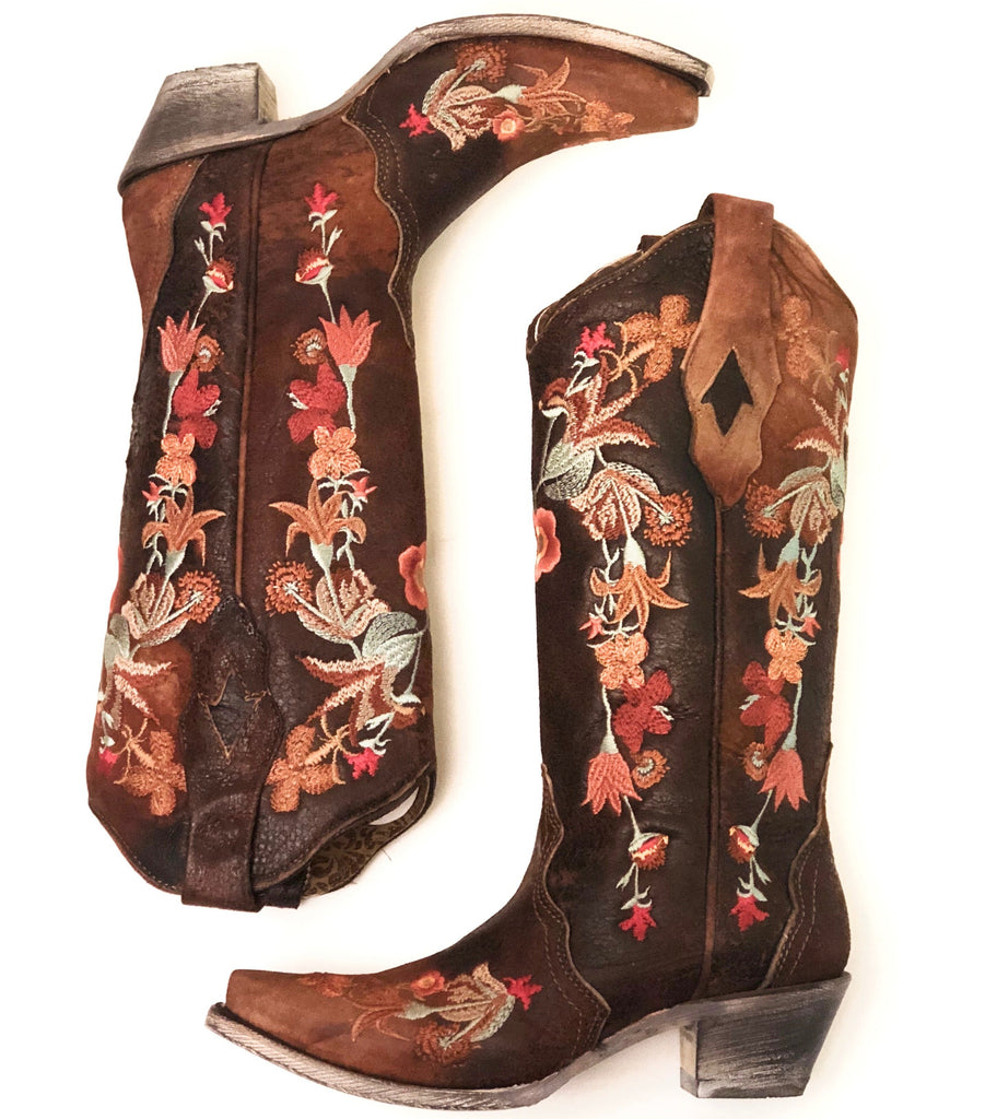 Floral Embroidered Lamb Leather Boots - headwestbozeman