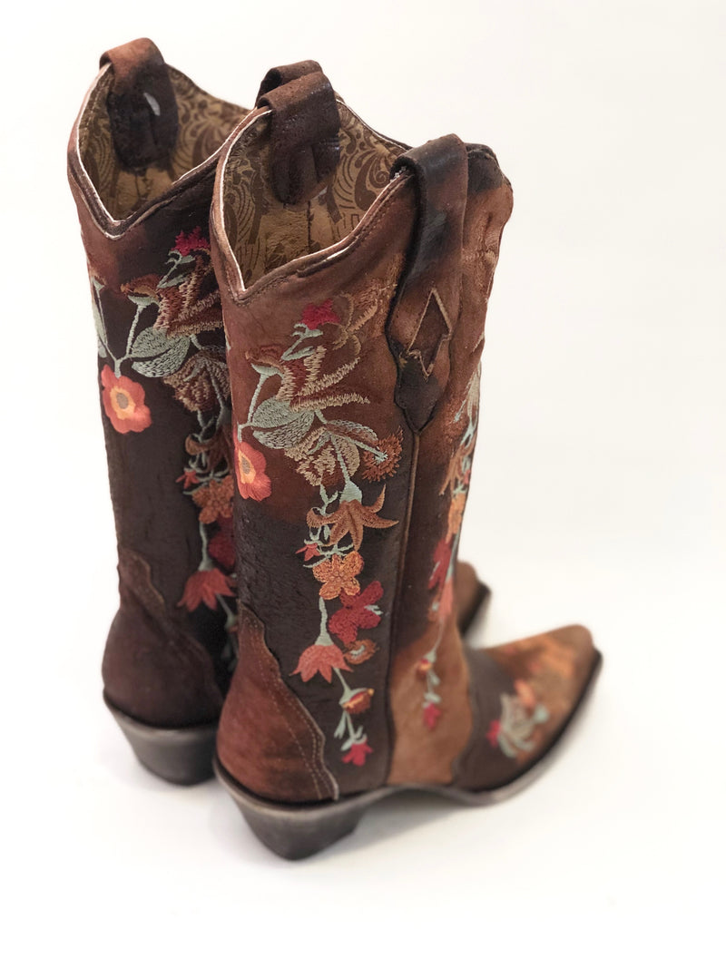 Floral Embroidered Lamb Leather Boots Cowgirl Western Montana