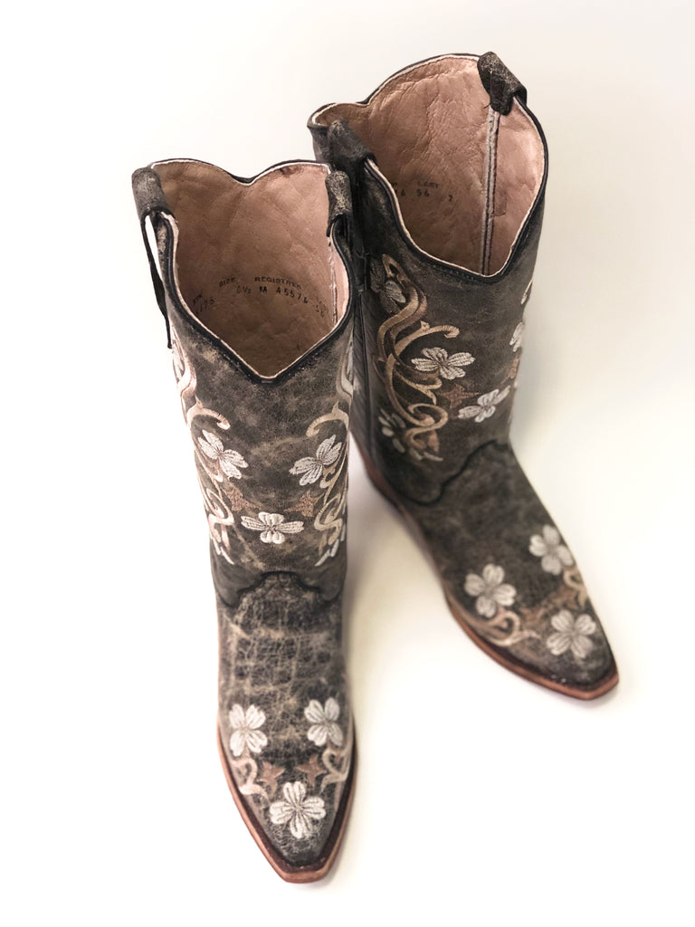 Black Floral Embroidered Boots - headwestbozeman