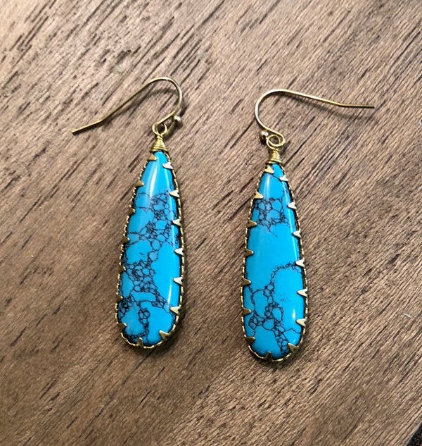 Tiger Mountain Turquoise Dangle Earrings