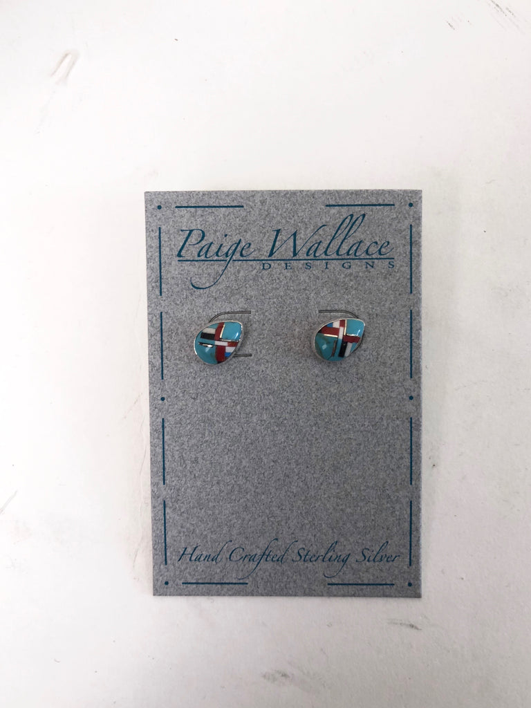 Paige Wallace Inlay Stud Earrings - Tear - headwestbozeman