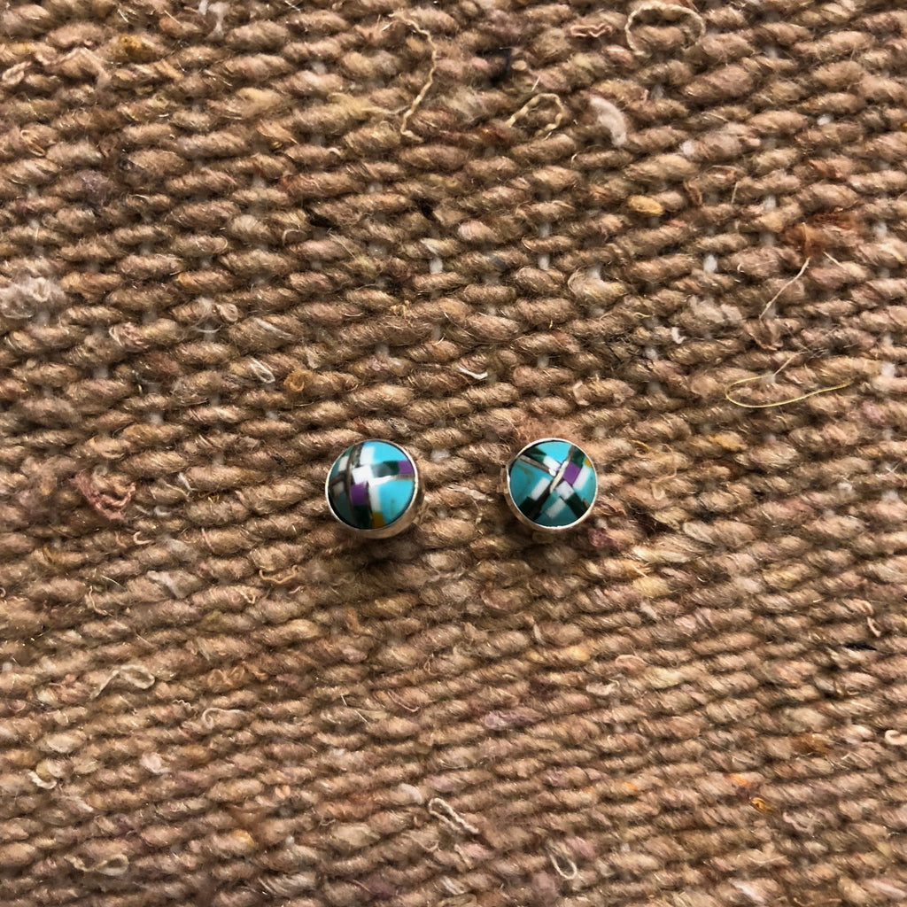 Paige Wallace Inlay Stud Earrings - Round - headwestbozeman
