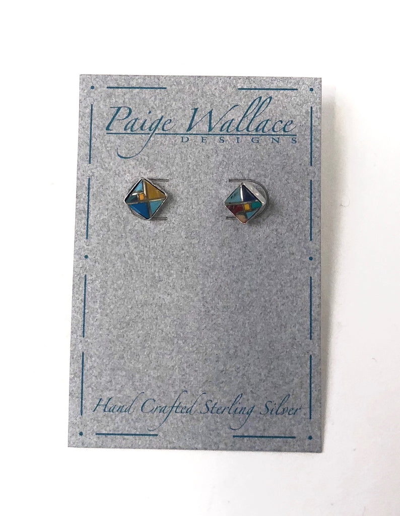Paige Wallace Inlay Stud Earrings - Square - headwestbozeman