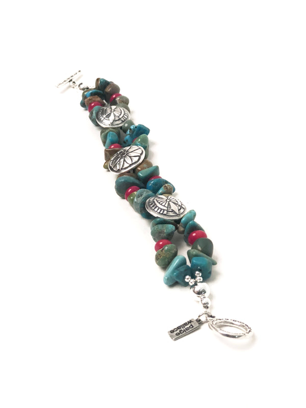 Western Jewelry concho turquoise coral bracelet cowgirl Paige Wallace
