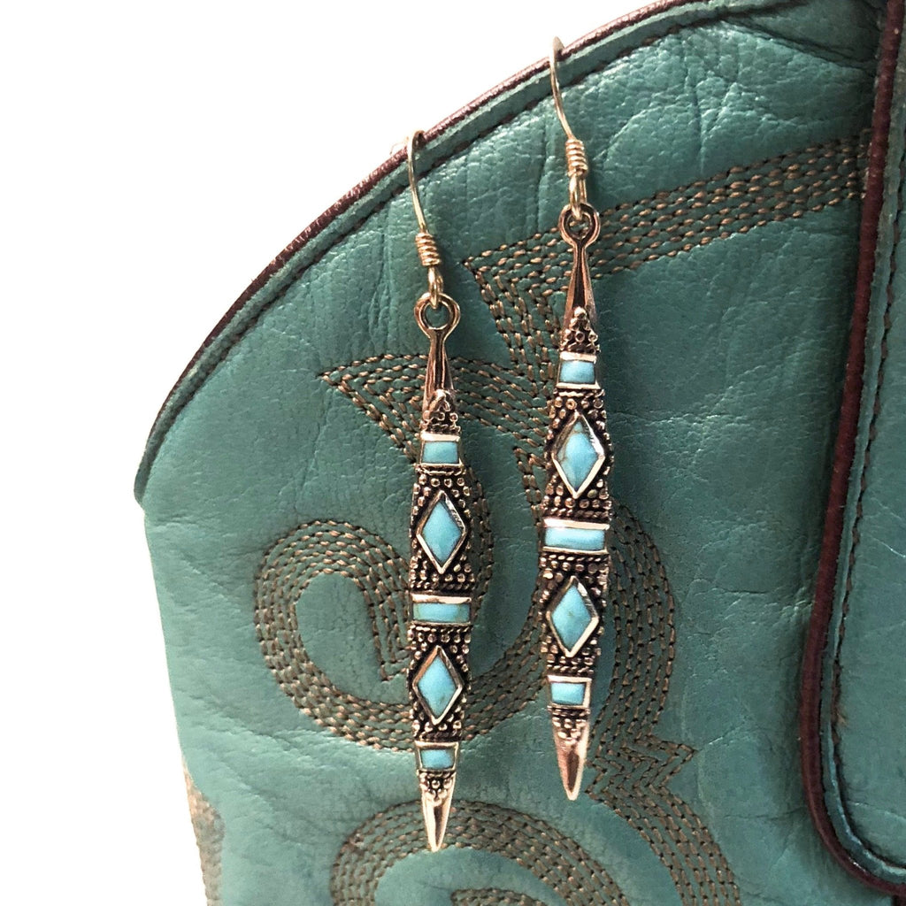 Bronze Turquoise Earrings - headwestbozeman