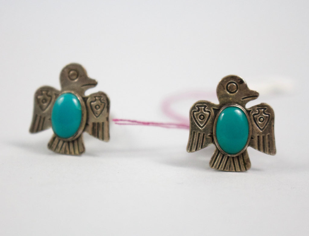 The Thunderbird cuff links are included in our estate jewelry collection. The cuff links feature a stunning turquoise stone.