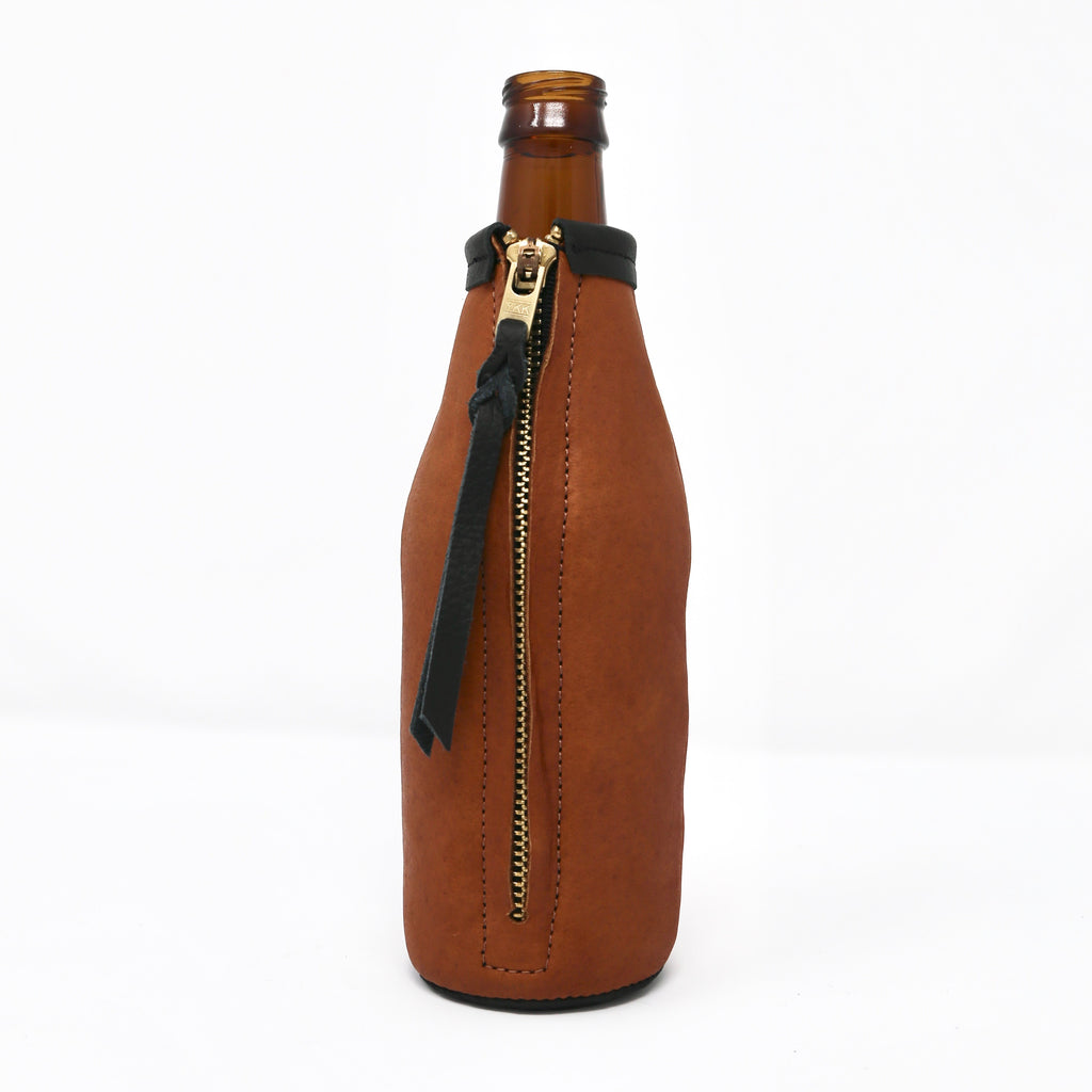 Whiskey Bison Leather Koozie