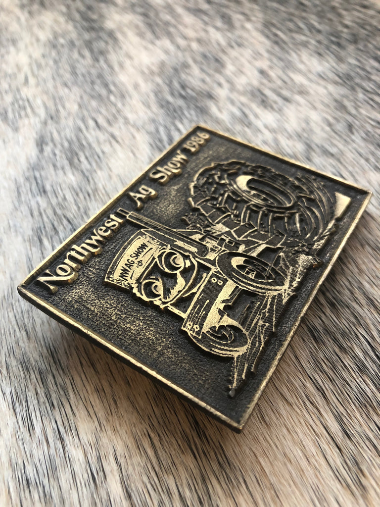 Vintage 1986 Agriculture Belt Buckle - headwestbozeman