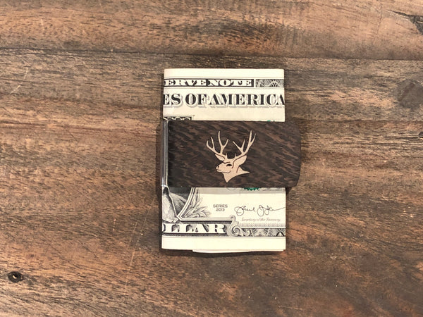 This bocote money clip is handmade and features a strong metal money clip at Head West in downtown Bozeman, Montana!