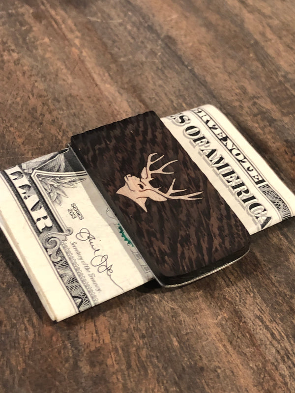 This bocote money clip is handmade and features a strong metal money clip at Head West in downtown Bozeman, Montana! Deer Money Clip