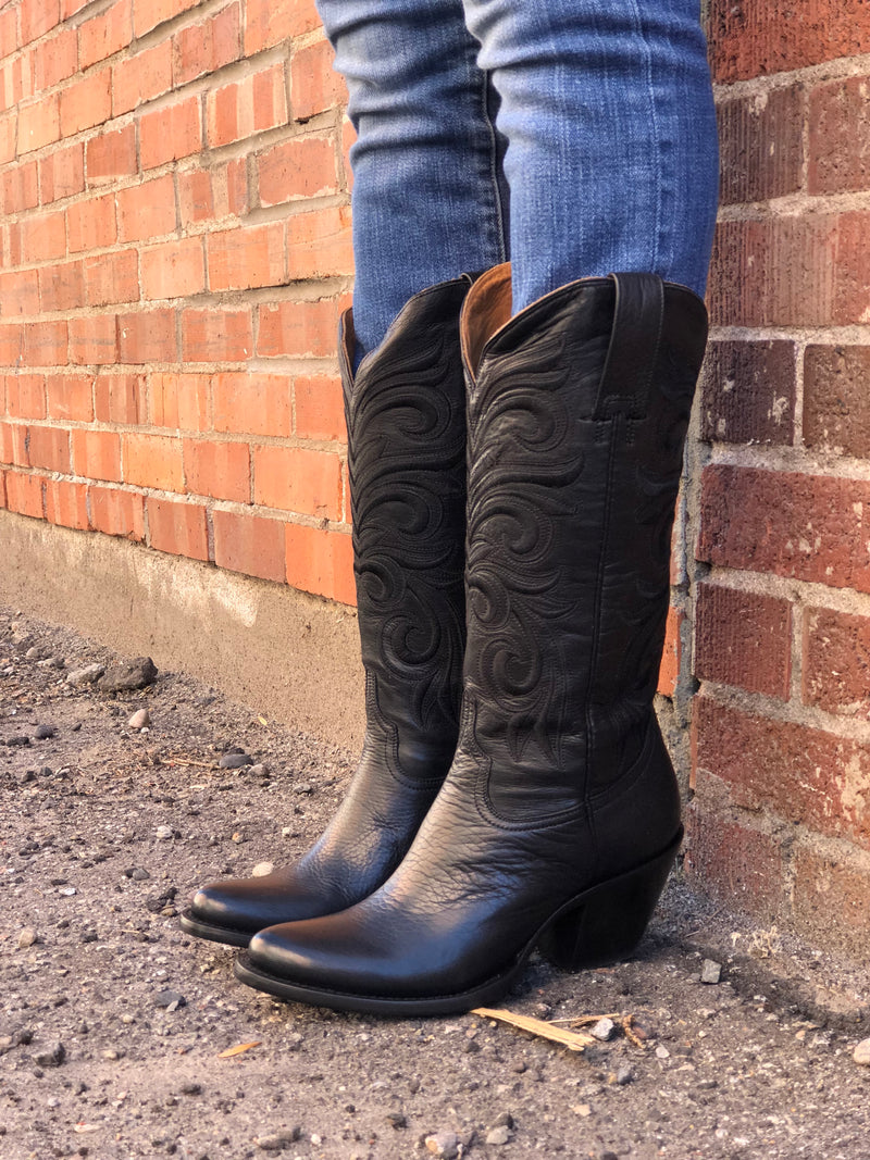 Lucchese Black Embroidered Boots Head West Bozeman Montana Cowgirl Ranch Western Fashion Boutique Boots Cowgirlboots Blackboots