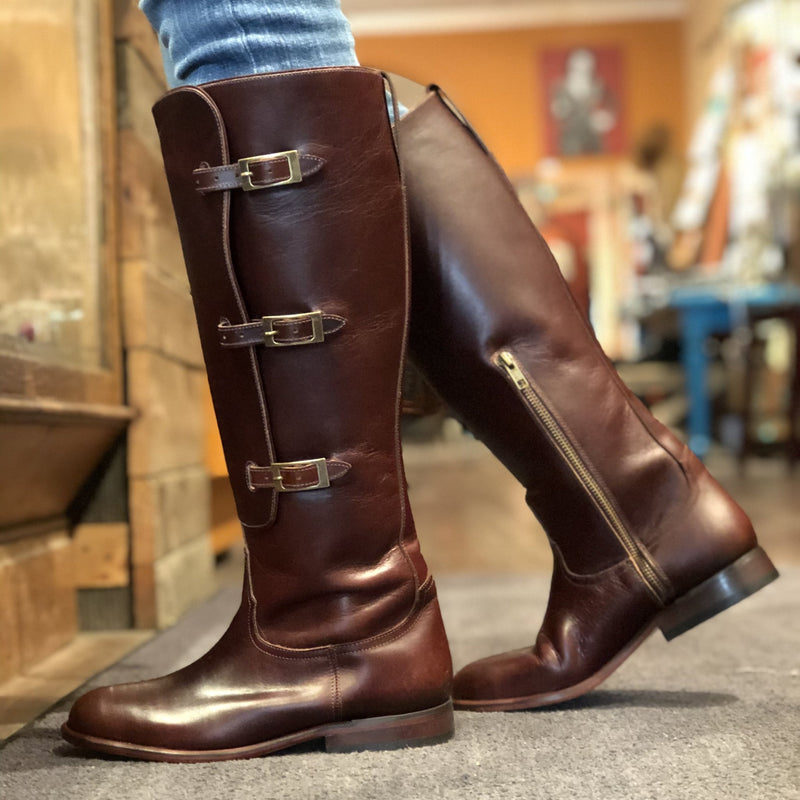 Lucchese Brown Equestrian Boots Bozeman Montana Western Boutique West Downtown Cherry Brown Lieutenant Bruna Boots