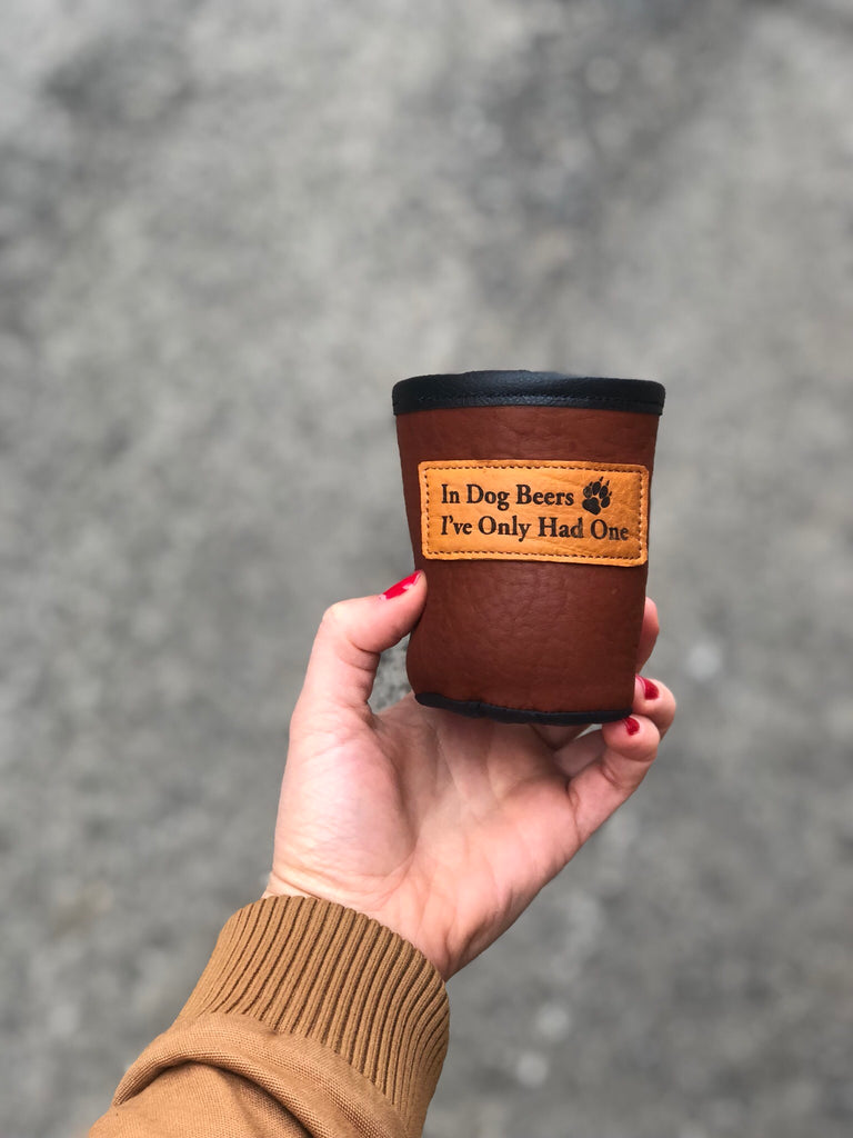 Bison Leather & Cowhide Short Koozie - headwestbozeman