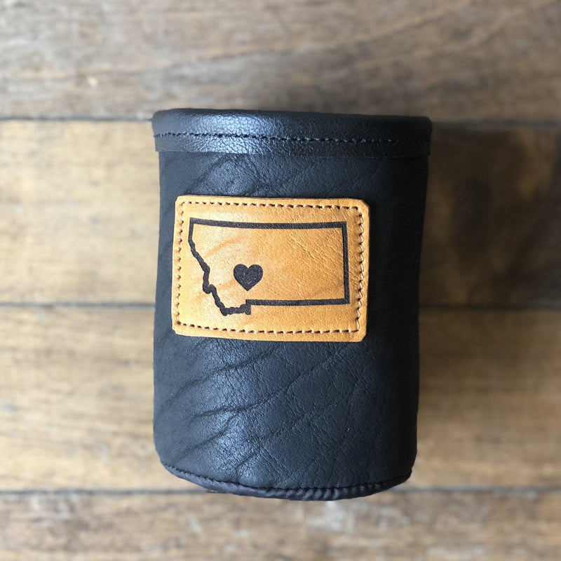 Bison Leather & Cowhide Short Koozie