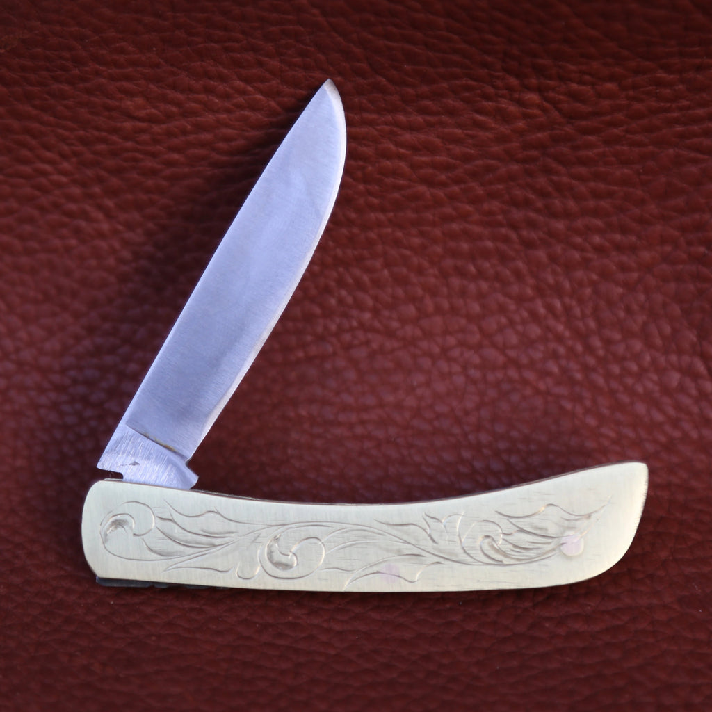 Small Engraved Brass Knife
