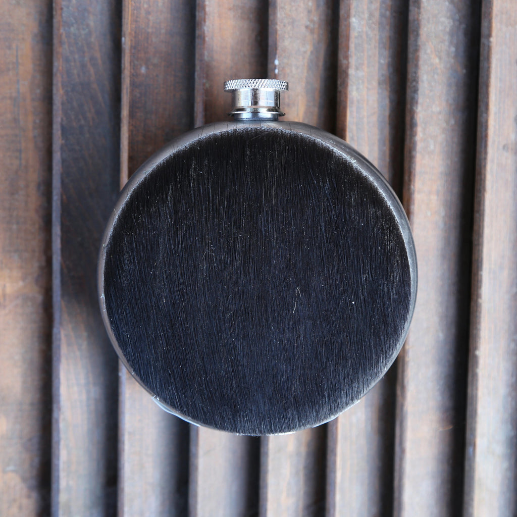 Dark Cowhide 8oz Round Flask