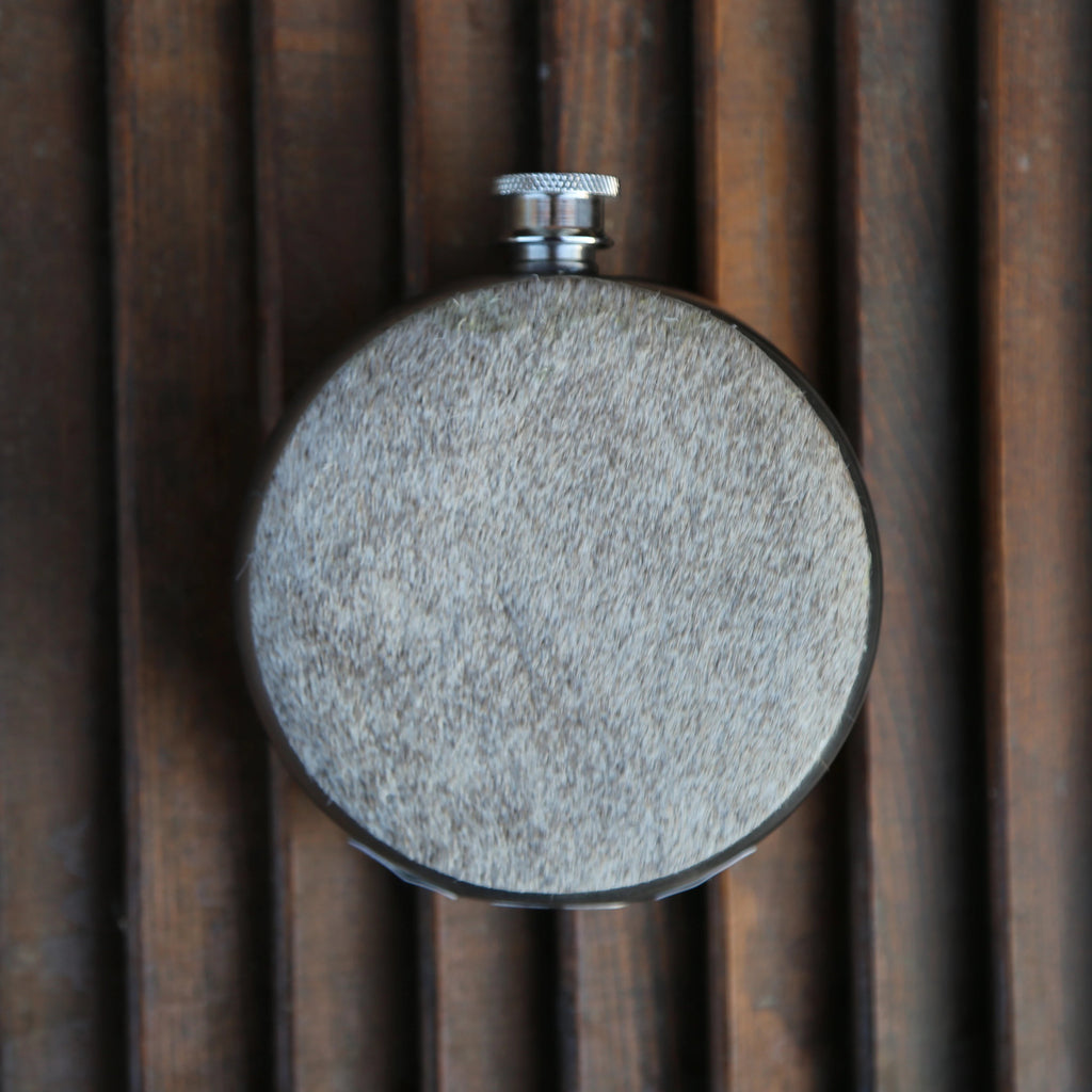 Light Cowhide 8oz Round Flask