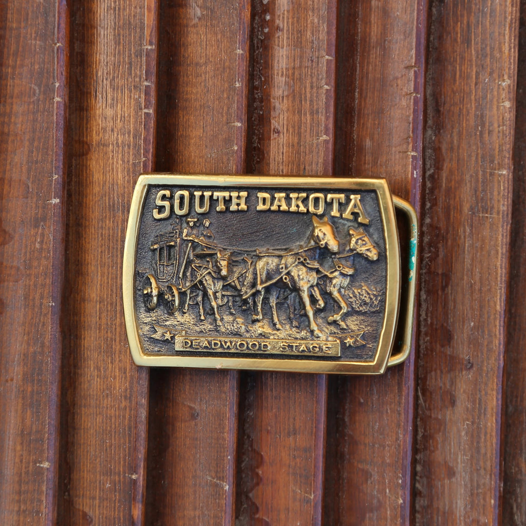 Vintage South Dakota Deadwood 1973 Brass Buckle