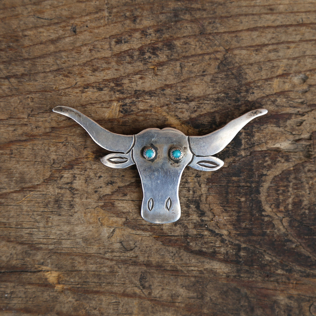 Longhorn Pin with Turquoise Eyes