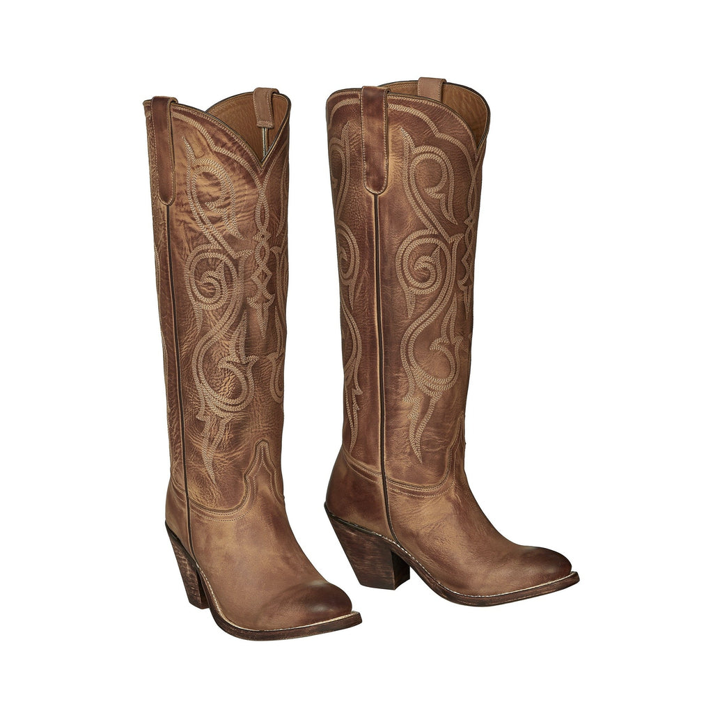 A Lucchese tall cowgirl boot made with cowhide in Mexico.