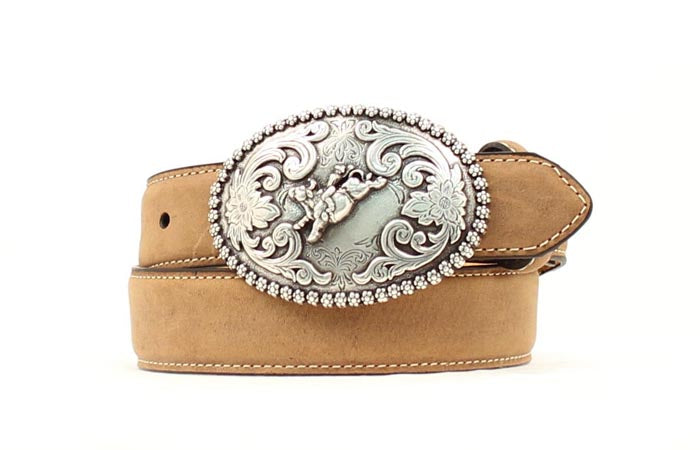 This rodeo cowboy tan leather belt is what your kid needs! Get yours at Head West in Bozeman, Montana.