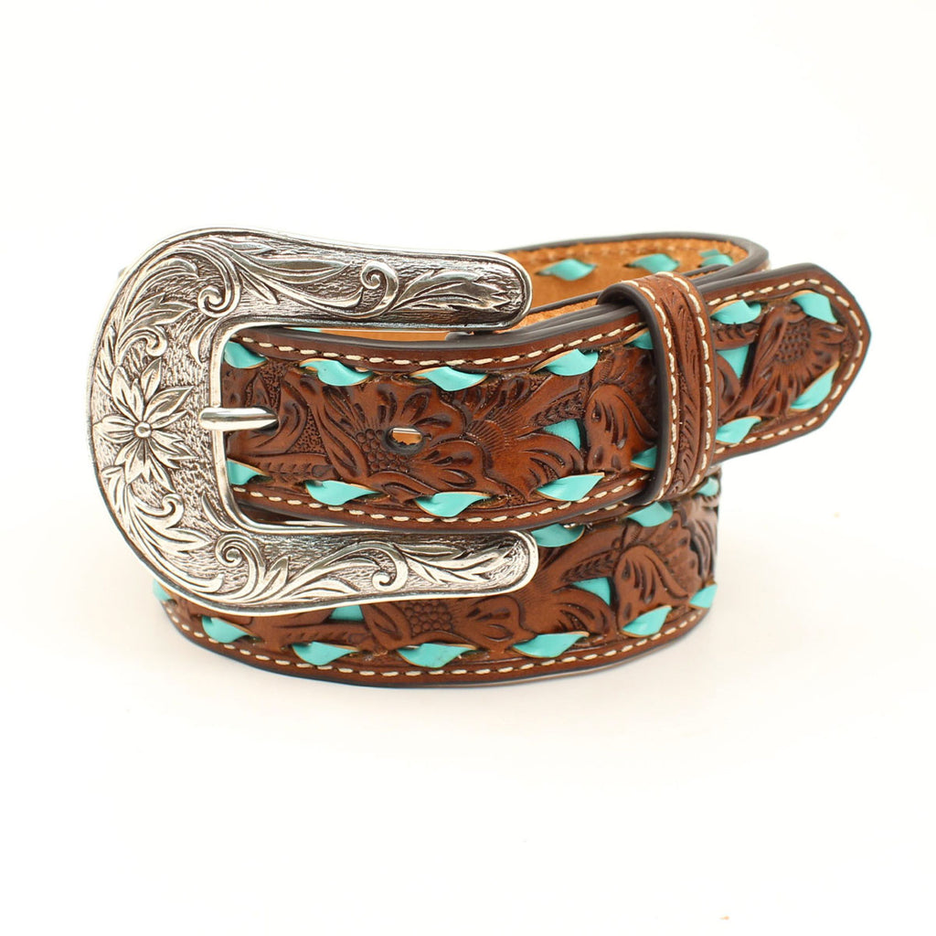 Turquoise Tooled Leather Belt - headwestbozeman