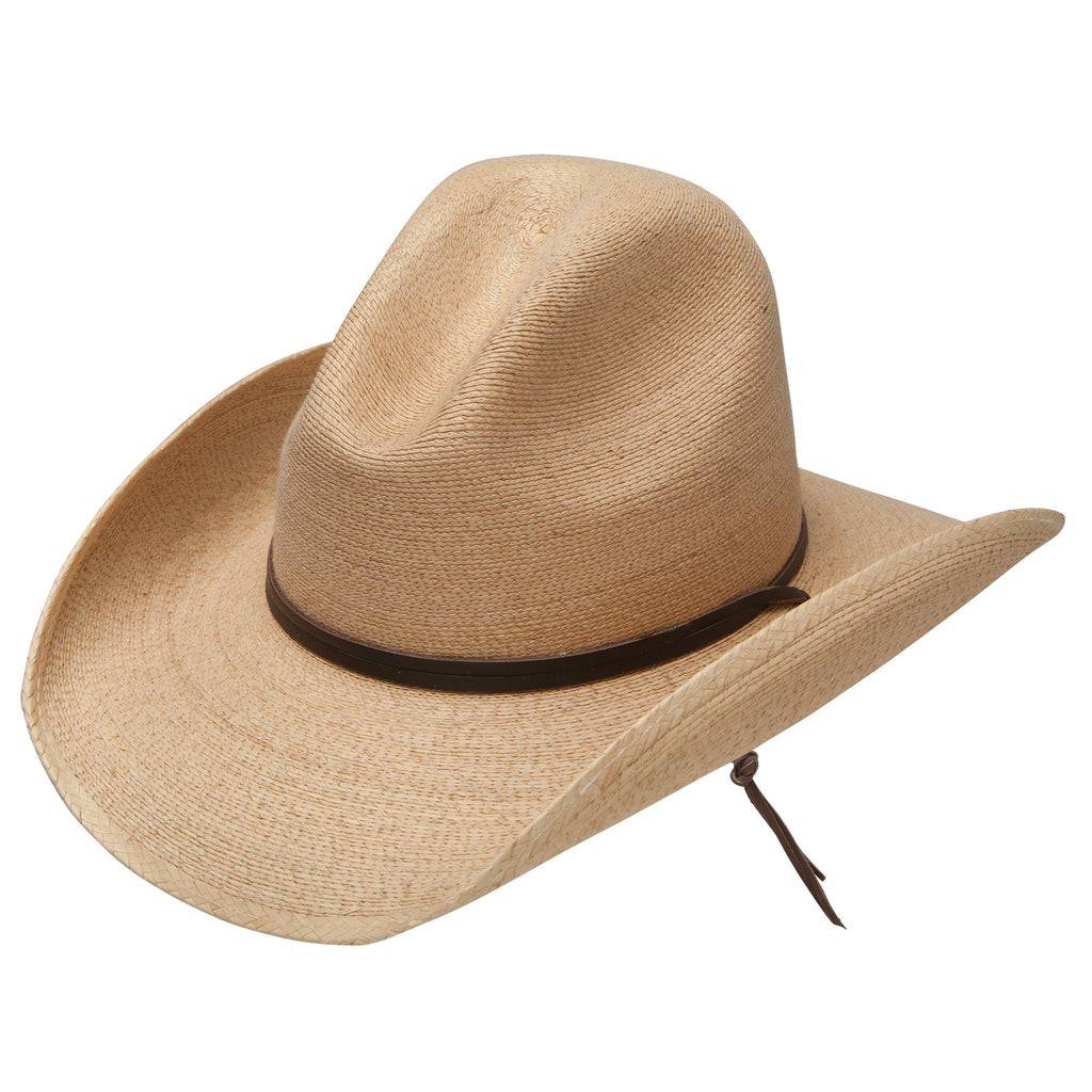 The Bryce Outdoor Palm Hat is a classic western hat, made with palm and crafted for a durable fit. The hat is finished off with a pinched crown and chin strap.