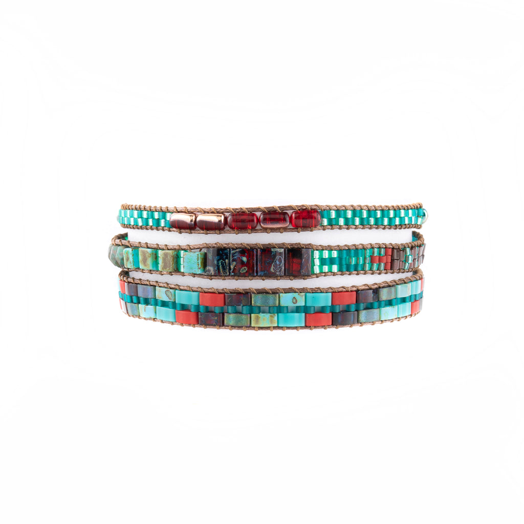 This opal turquoise and red beaded bracelet is at Head West in Bozeman, Montana.