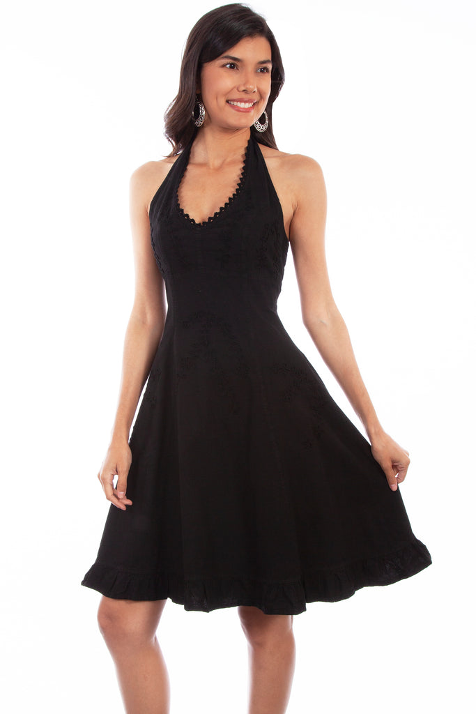 This peruvian dress is made by Scully. Dress is knee length and black.
