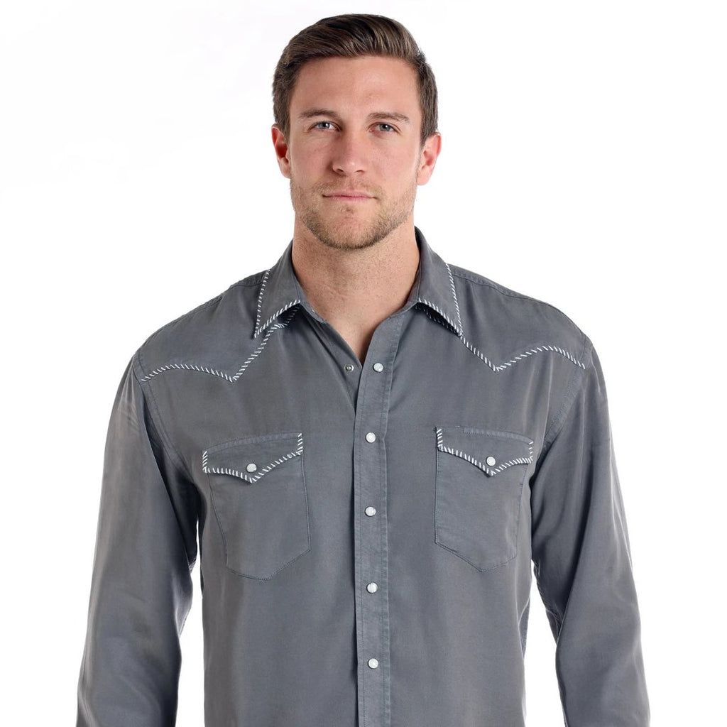 A men's western tencel snap shirt made by Panhandle Western Wear. Find this men's shirt at Head West in Bozeman, Montana.