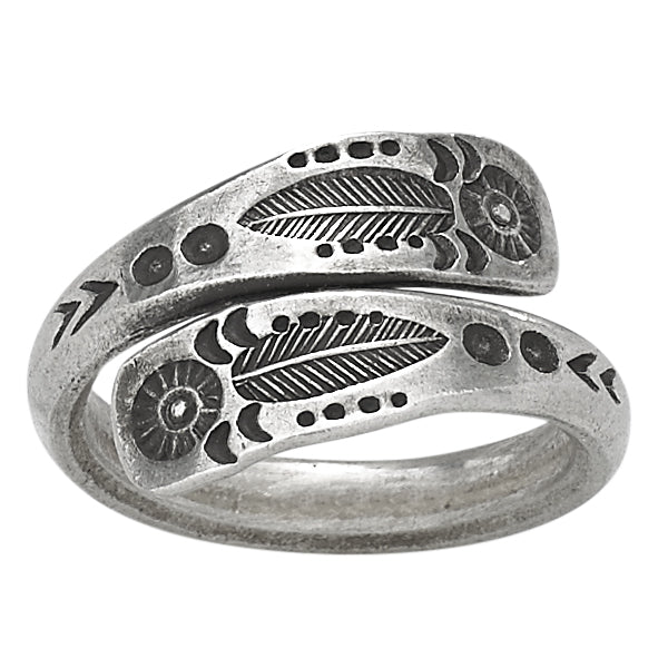 Sterling Silver Stamped Metal Wrap Ring - headwestbozeman