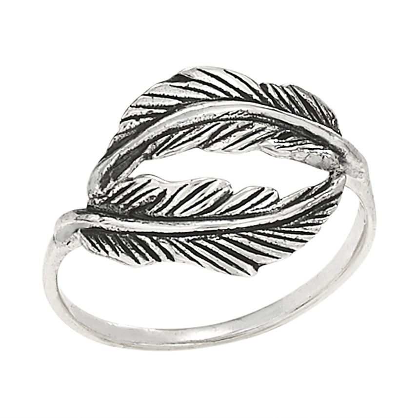 Sterling Silver Feather Ring - headwestbozeman