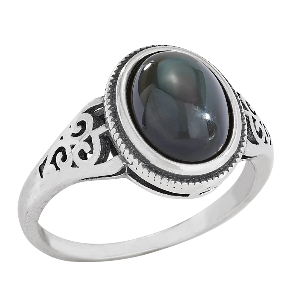 Sterling Silver Oval Stone Ring - headwestbozeman